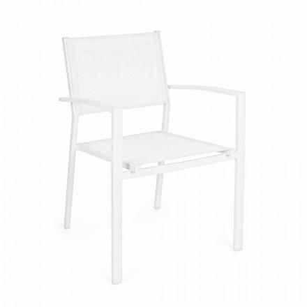 Stapelbar trädgårdsstol i aluminium och textilen modern design - Franz