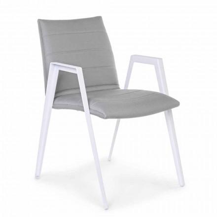 Modern trädgårdsstol med armstöd i vit aluminiumhumotion - Liliana