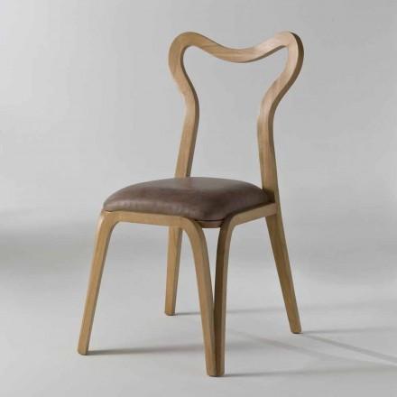 trä och läder matstol modern design, l.41xp.46 cm, Carol