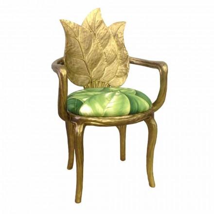 Stol vadderad lunch modern design guld, tillverkad i Italien, Daniel