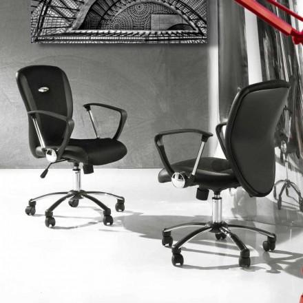 Kontorsstol med svängbara hjul i svart och metall Eco-läder - Amarilda