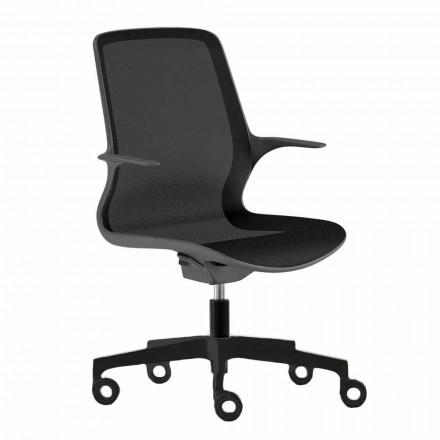 Kontorsstol med svängbara hjul i svart nät och svart nylon - Ayumu
