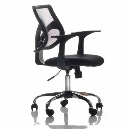 Kontorsstol med roterande hjul, svart och vävnad - Giovanna