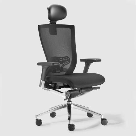 Ergonomisk kontorsstol med tyger och faux läderhjul - Takeshi