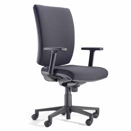 Ergonomisk svängbar kontorsstol med armstöd i svart tyg - Macrino