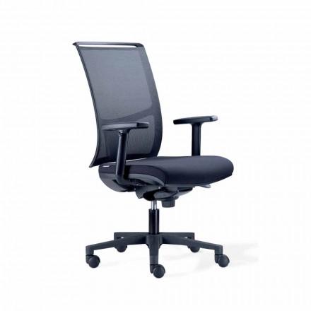 Halvriktad kontorsstol i Tecnorete och svart tyg - Vespasiano