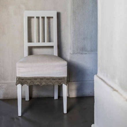 Design kök stol i vit lackerat bokträ, Shirley, 2 stychen