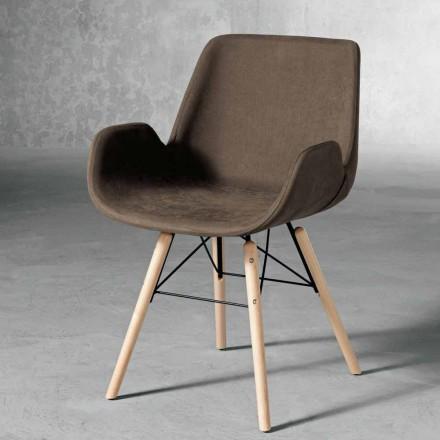 Designstol i trä och tyg tillverkat i Italien Ornica