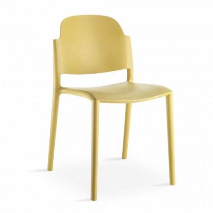 Stapelbar stol i modern design i färgad polypropen 4 delar - Rapunzel