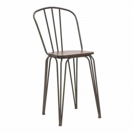Modern designstol i industriell stil i järn och trä, 2 delar - Erika