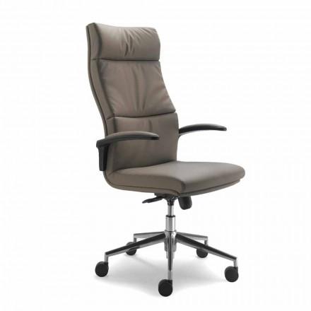 Modern Edda Executive stol i läder, tillverkad i Italien
