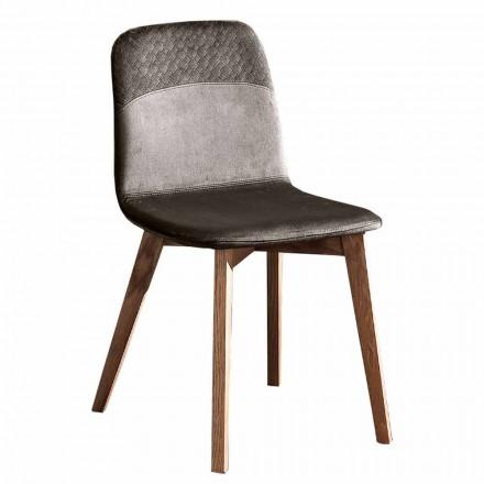 Elegant stol för modern design i färgad sammet och trä 4 stycken - Bizet
