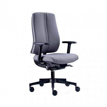 Ergonomisk modern svängbar kontorsstol i svart eldfast tyg - Menaleo