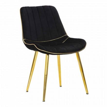 Vadderad stol för matsalsdesign i trä och tyg, 2 delar - Kolly