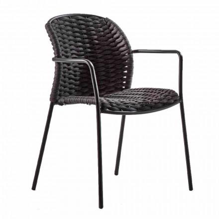 Stapelbar utomhusstol i rep och antracitmetall, 4 delar - Drusilla