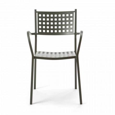Stapelbar utomhusstol i målad metall tillverkad i Italien, 8 delar - Lina