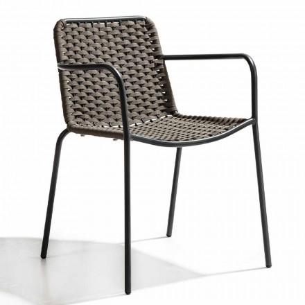 Stapelbar trädgårdsstol med armstöd och rep i metall, 4 delar - kabaret