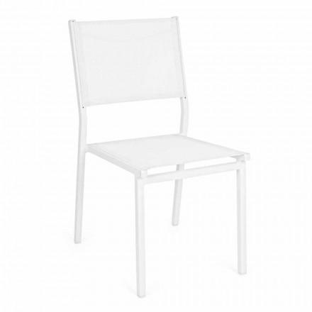 Staplingsbar trädgårdstol av aluminium och textil, modern design - Franz