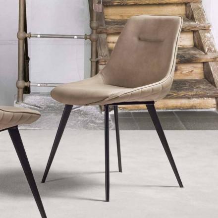 Eco-läder stol Nabuk effekt med metallkonstruktion - Ermes