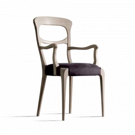 i fast valnöt stol med armstöd och sits tyg, Noemy