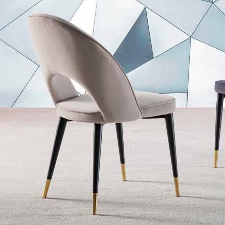 Sammetstol med svartmetall och satin mässingsben, 4 delar - Sibea