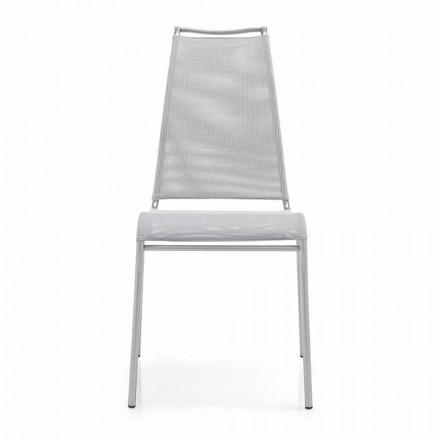 Vardagsstol med hög rygg i satinstål Tillverkad i Italien, 2 stycken - Air High