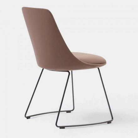 Modern läderstol med släde bas tillverkad i Italien - Itala Si