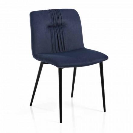 Monocoque stol i färgat tyg och svartmetall Design 4 stycken - Florinda