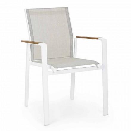 Stapelbar utomhusstol med armstöd i aluminiumhumotion - Sciullo