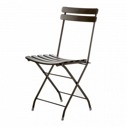 Tillverkad i Italien målad metallfällbar utomhusstol, 4 delar - Lori