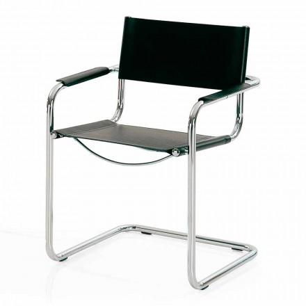 Mötesrumsstol i svart läder och metall - Cirillo