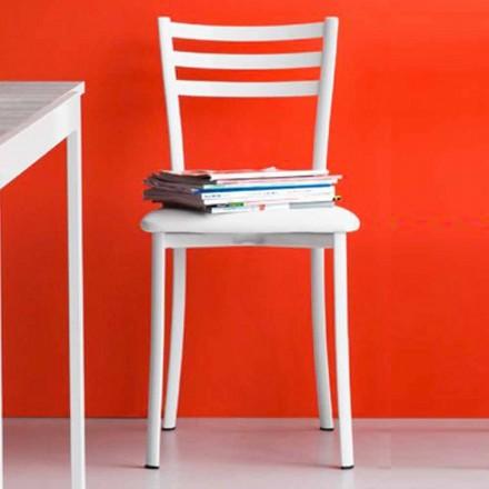 Vadderad matstol i metall och faux läder tillverkad i Italienm 2 stycken - ess
