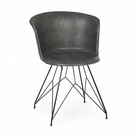 Matsalsstol i konstläder och stål 2 delar Homemotion - Katya