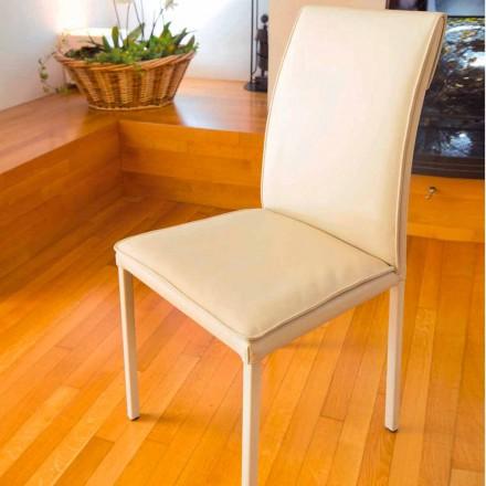 Bessie duva-färgad läderstens matsal stol, gjord i Italien