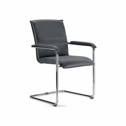 Mötesrumsstol eller konferensrum i svart och metall faux läder - Oberon
