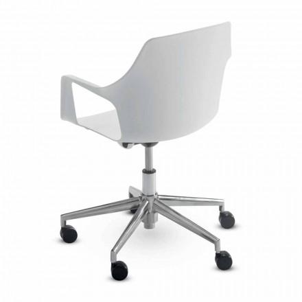 Kontorsstol i aluminium och polypropen tillverkad i Italien, 2 delar - Charis