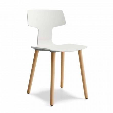 Matsalstol i trä och polypropylen Tillverkad i Italien, 2 delar - klöver