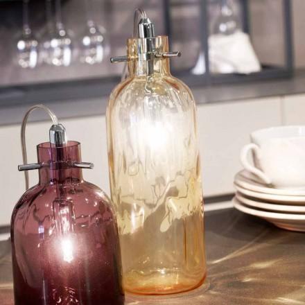 Selene bossanova bordslampa Ø10 H 26cm i bärnstensfärgade blåst glas