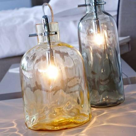 Selene bossanova bordslampa Ø15 H 21cm i bärnstensfärgade blåst glas
