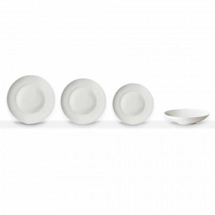 Uppsättning av 24 vita porslin middagar tallrikar av klassisk design - Romilda