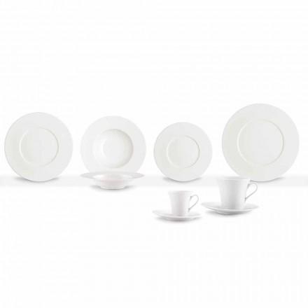 Service 24 moderna vita middagarplattor och 12 porslinsmuggar - Monaco