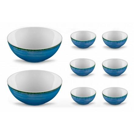 Service 6 Glasskålar och 2 skålar i färgat porslin - Rurolo