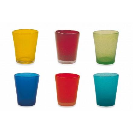Vattenglasservice 12 delar blåst och färgat glas - Yucatan Folk