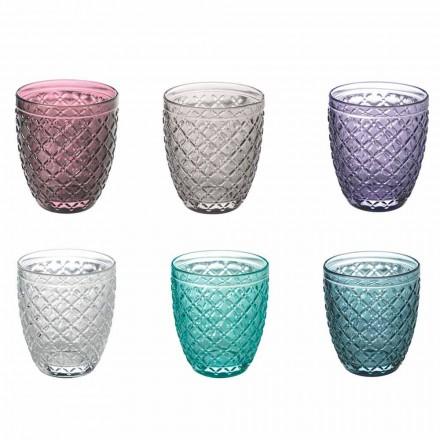 Färgade och dekorerade vattenglas Service 12 delar glas - sug