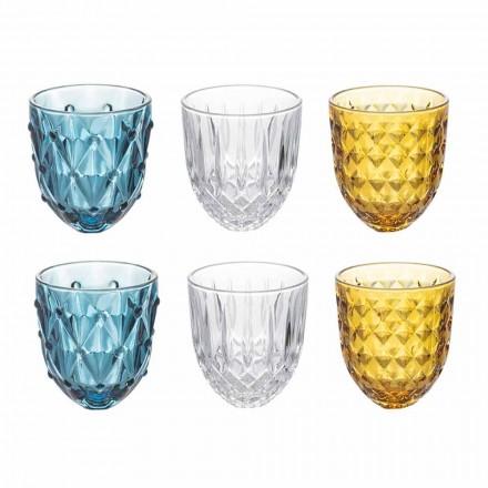 Vattenglas service i färgat glas och lättnad dekoration 12 stycken - ilska