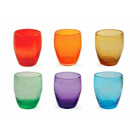 Vattenglasservice i färgat och modernt glas 12 delar - Guerrero