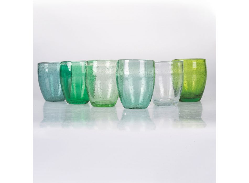 12 bitar färgat blåst glasvattenglas - Guerrero