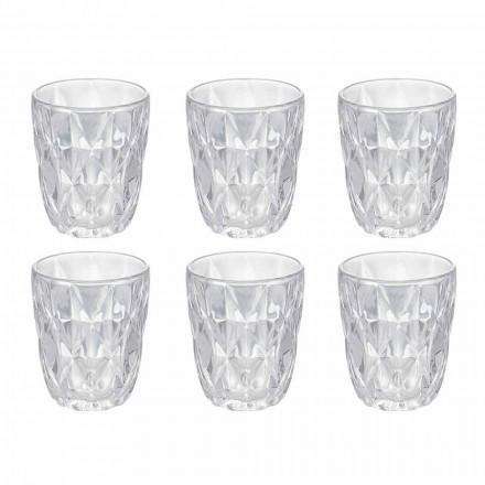 Dekorerade genomskinliga glas vattenglas set, 12 stycken - renässans