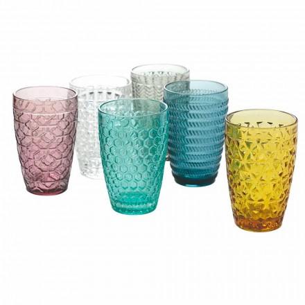 Modern dryckesuppsättning i dekorerat färgat glas 12 stycken - mix