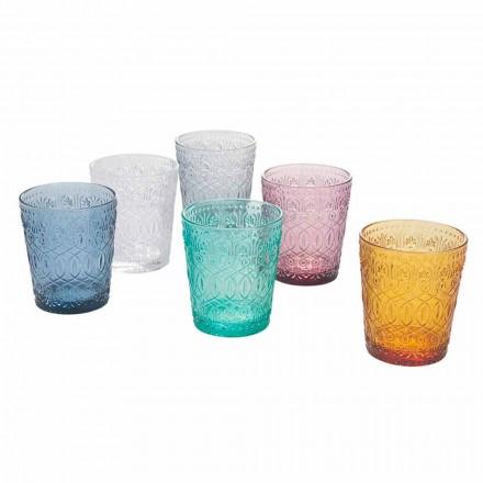 Färgad och dekorerad glasvattenglasögon, 12 stycken - Pizzotto